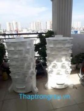 tháp trồng rau màu trắng